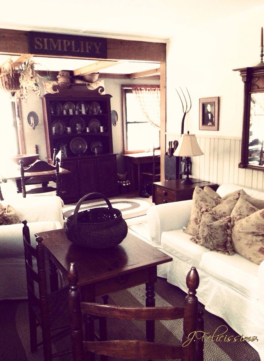 Primitive colonial decor living room primitive rooms pinterest - Primitive curtains for living room ...