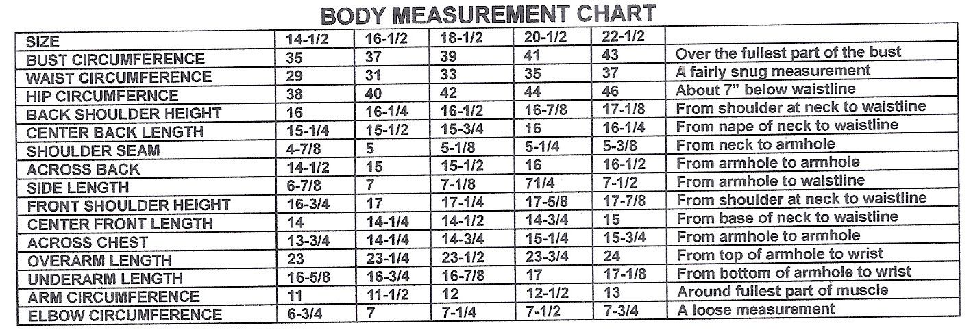 Body Measurement Chart Body Measurement Chart