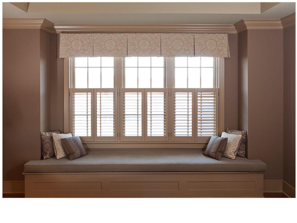 Box pleat valance over shutters decor window treatments for Window treatments with shutters