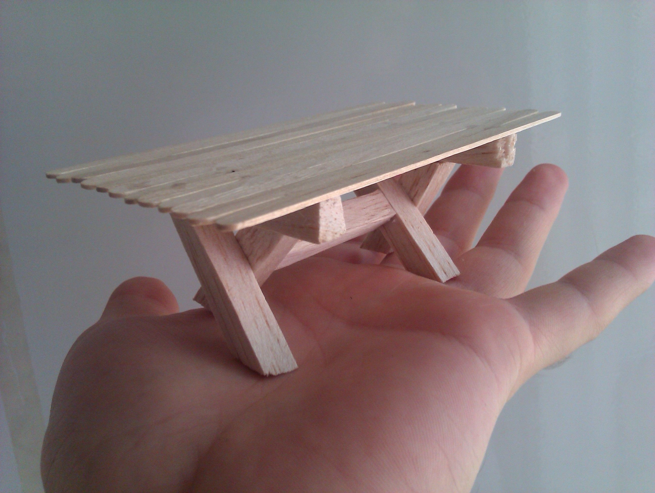 small wooden picnic table :)  Foam crafts  Pinterest