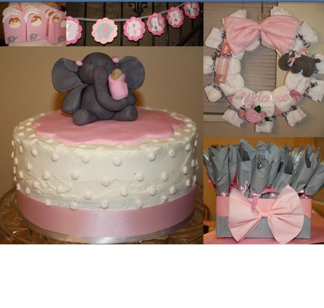 pink and grey elephant theme baby shower k m baby pinterest