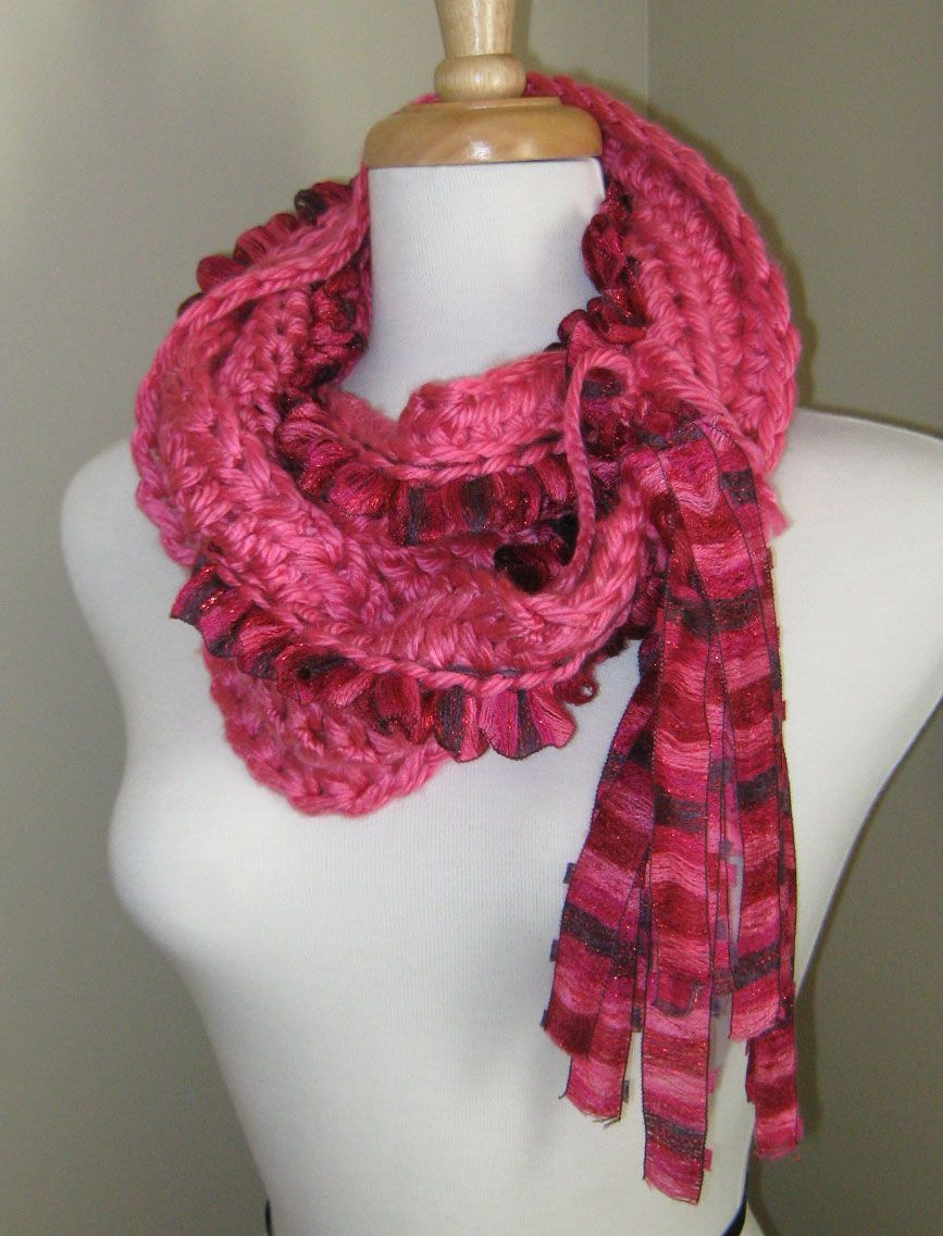 Crochet Patterns Ribbon Yarn : Using ribbon yarn in a crochet scarf Crochet Pinterest