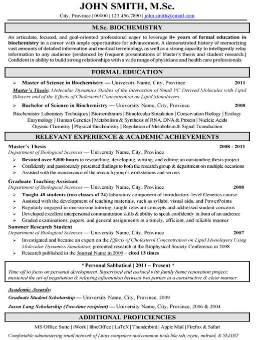 Resume For Biotechnology Students