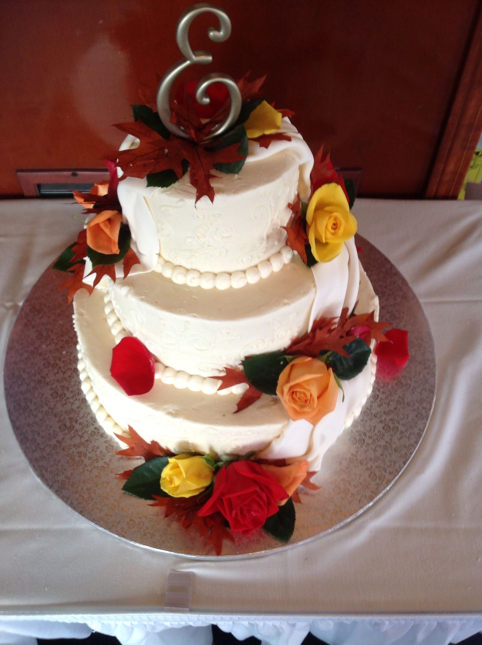Ivory fall wedding cake Wedding
