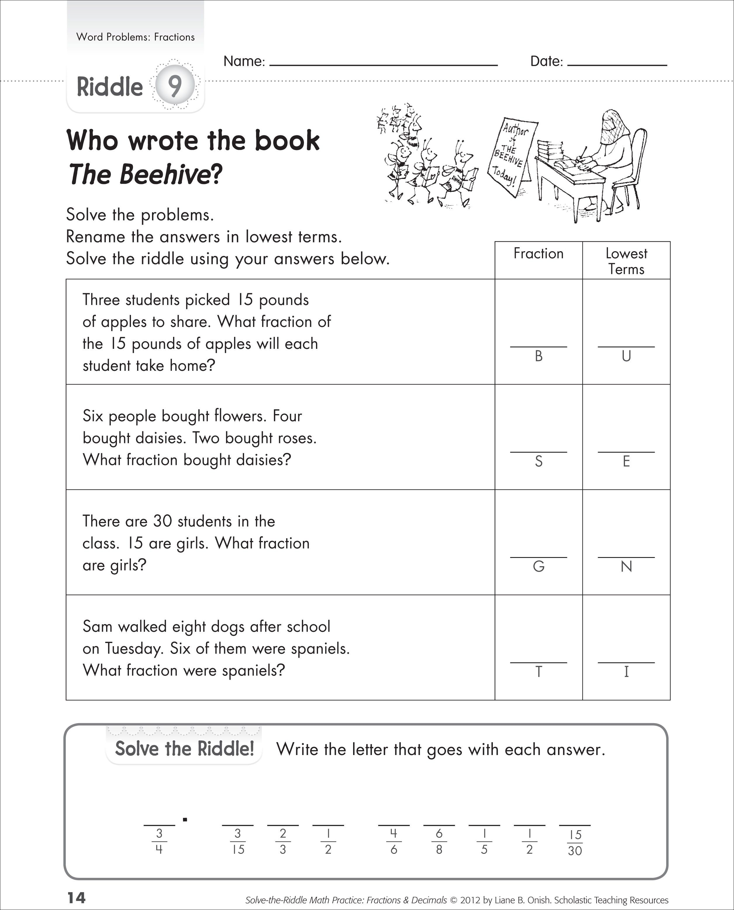 Fractions word problems worksheets 5th grade