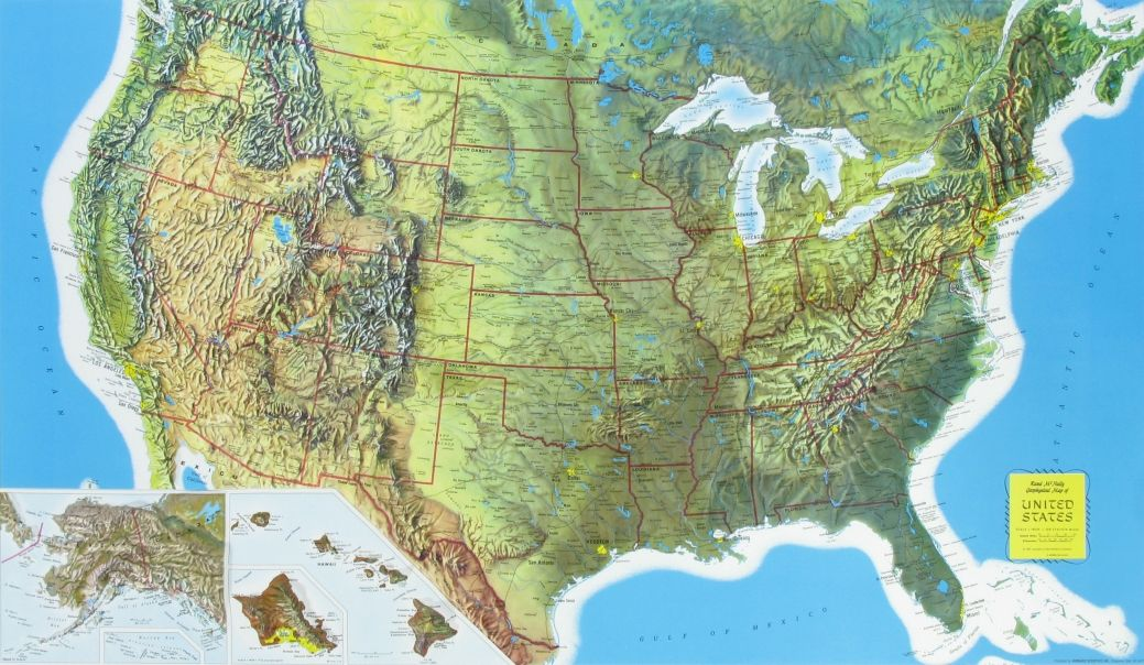 Rand Mcnally Raised Relief Map Of The United States