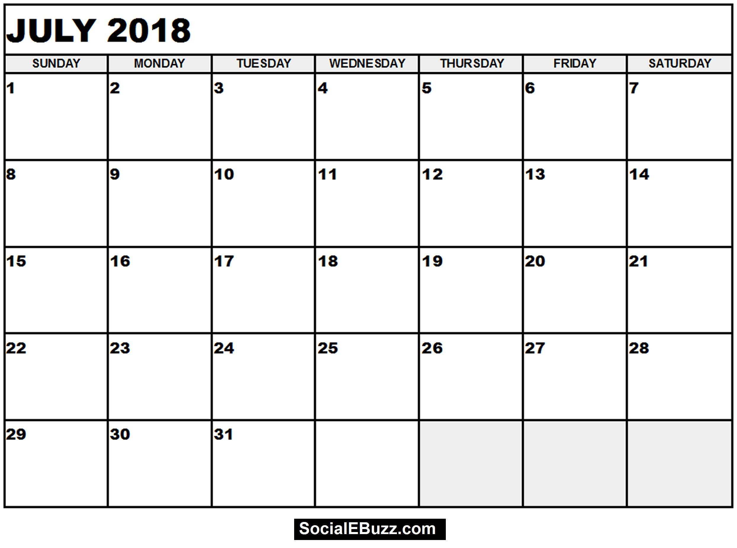July 2018 Calendar Printable Template, July Calendar 2018, July ...