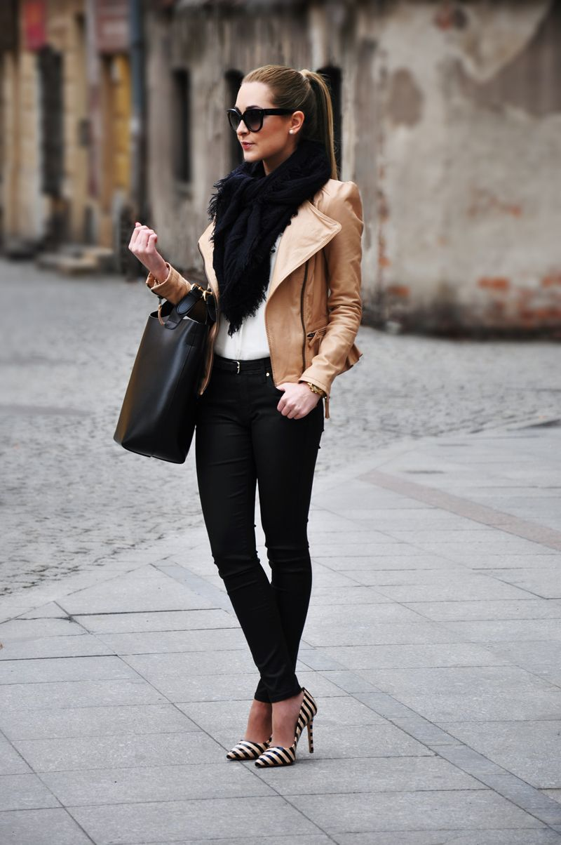 Tan Brown Leather Jacket Dress Me Pinterest