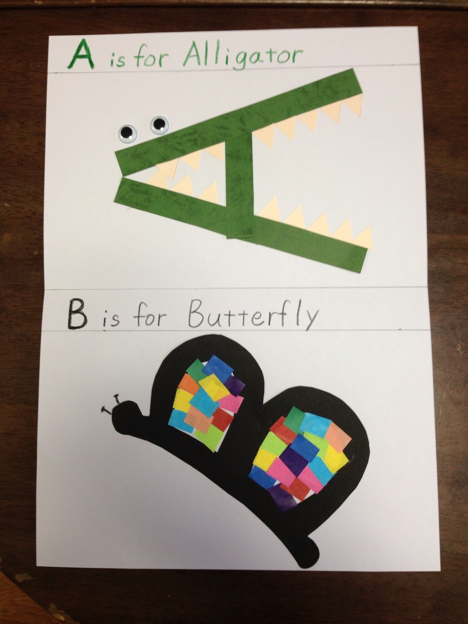 Is for alligator b is for butterfly alphabet craft pinterest