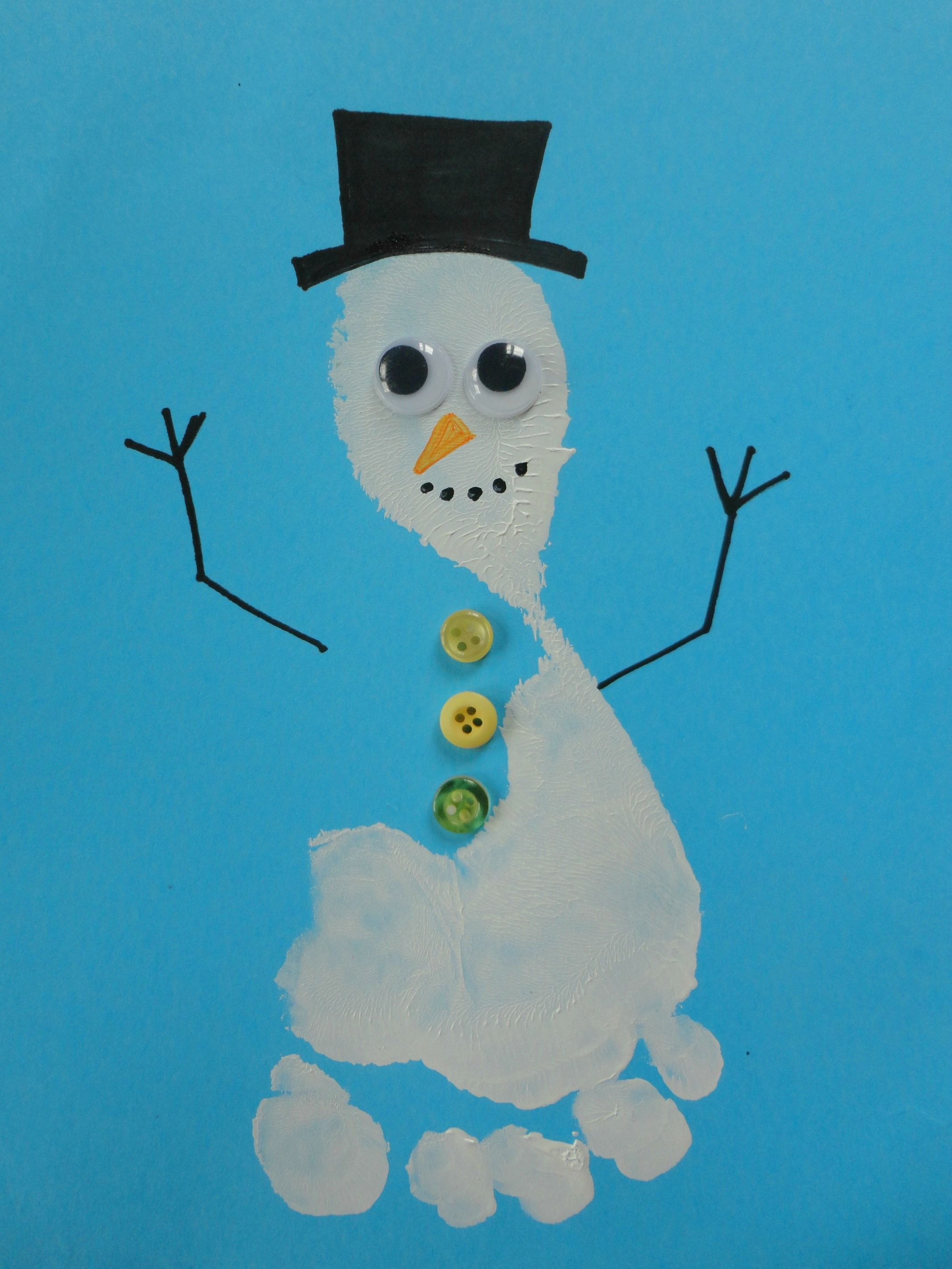 Footprint Snowman #mine | Craft Ideas | Pinterest