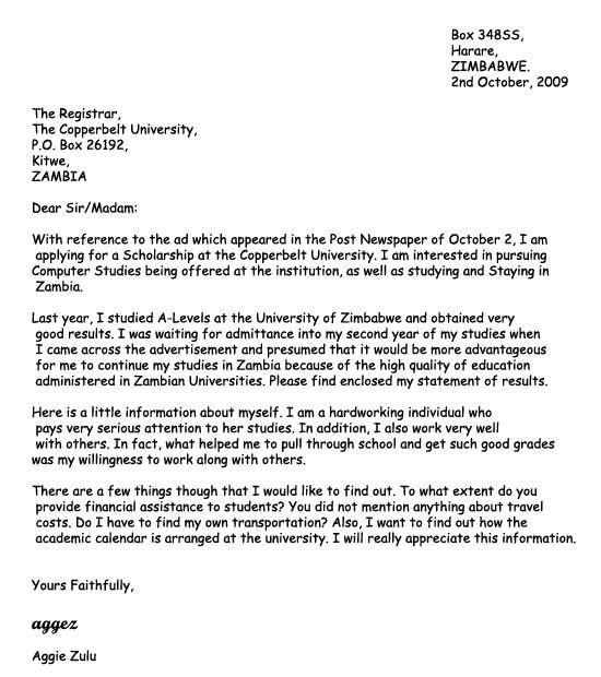 cover letter template university application