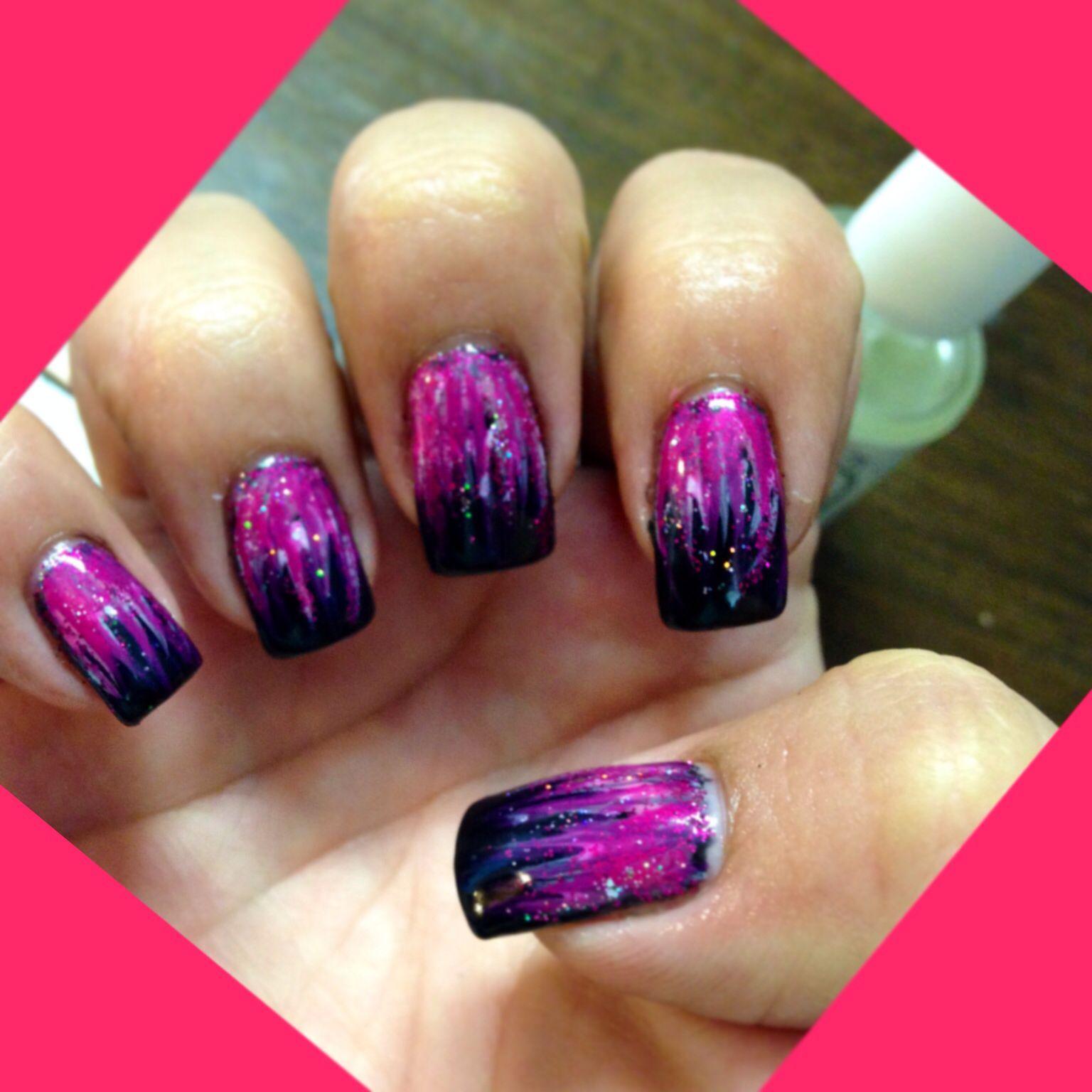 Black & pink nail art with glitter!!!! | Design | Pinterest