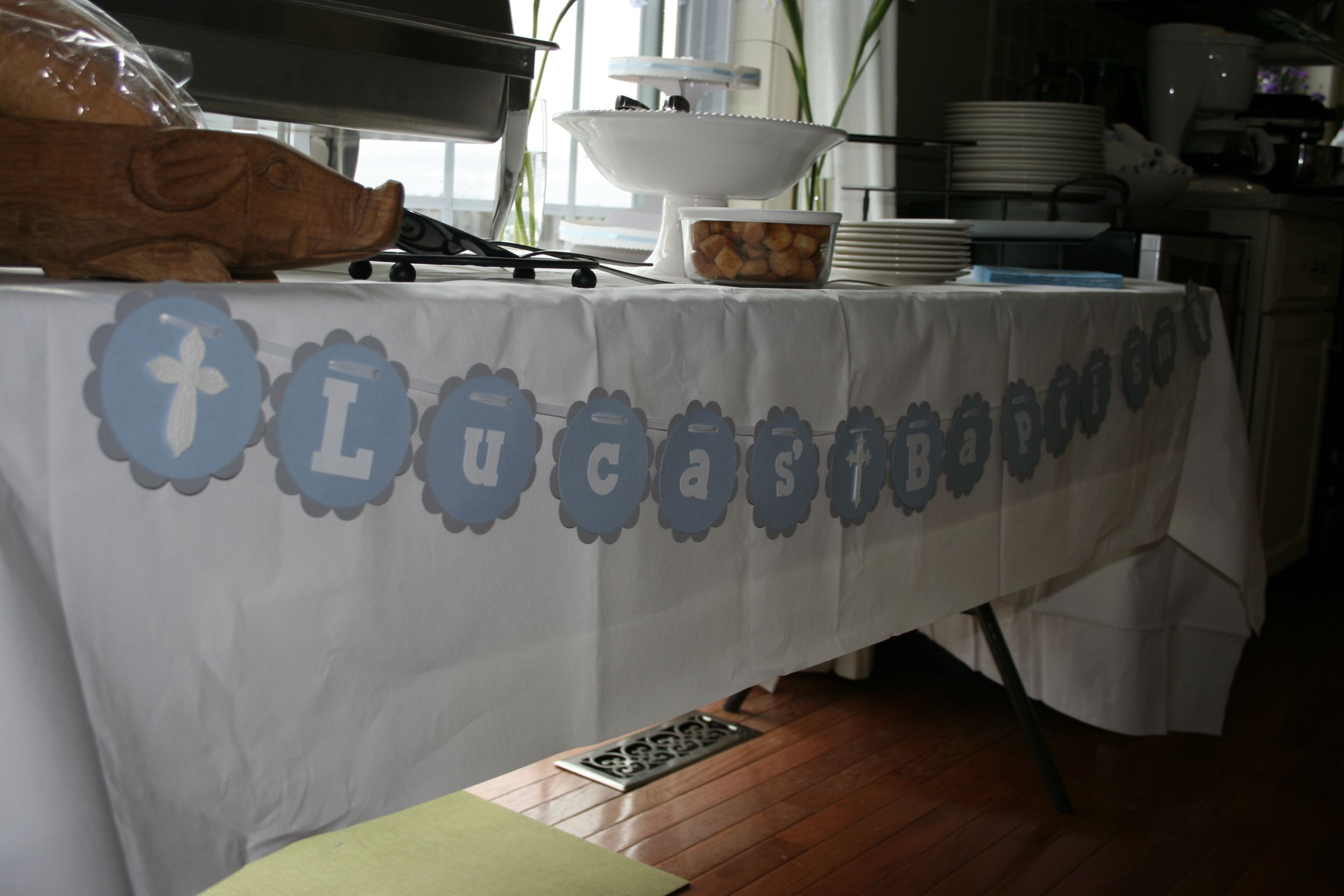 Baby boy baptism decorations baptism party pinterest for Baby baptism decoration ideas