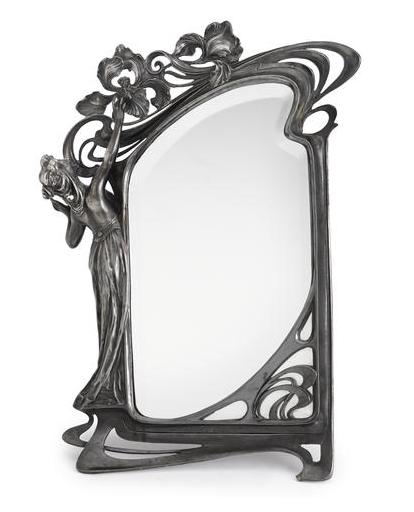 An art nouveau pewter figural mirror jugend pinterest for Miroir art nouveau