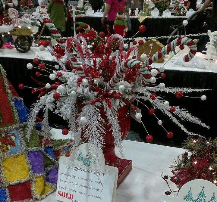 Candy cane centerpiece christmas pinterest