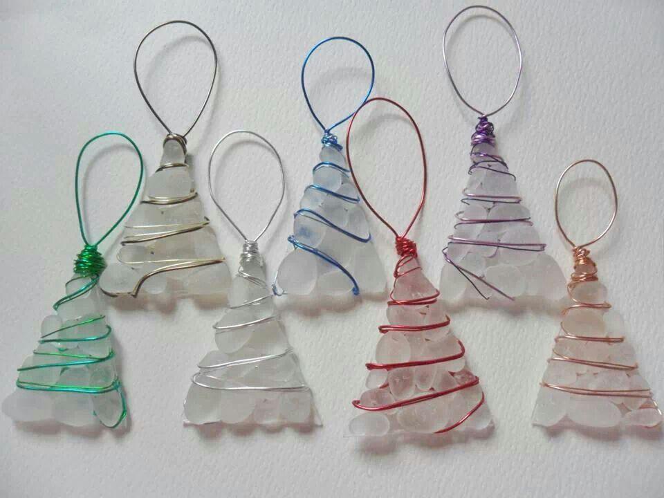Sea Glass Xmas Decorations Sea Glass Crafts Pinterest