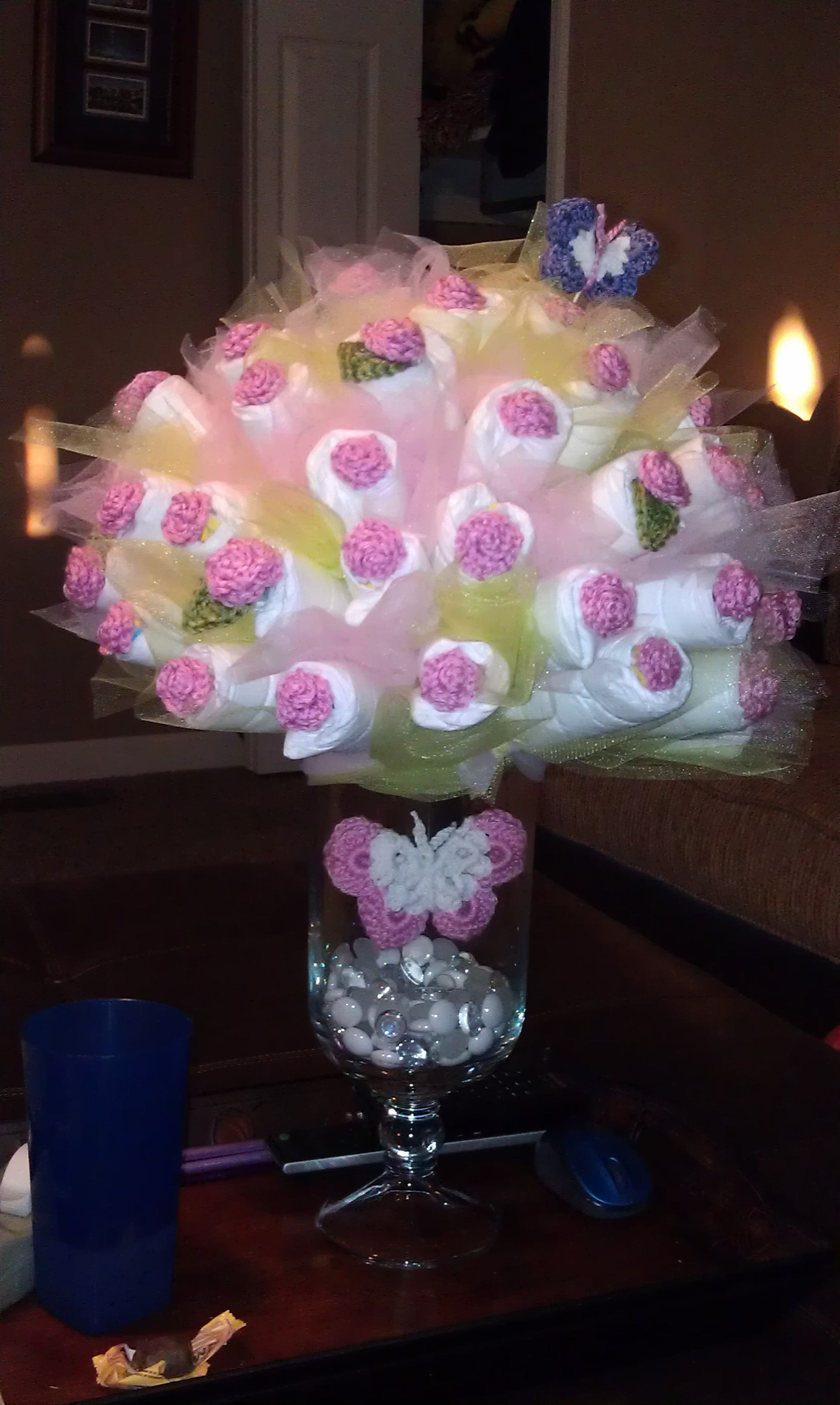 Diaper bouquet flower baby shower pinterest for Pink diaper bouquet