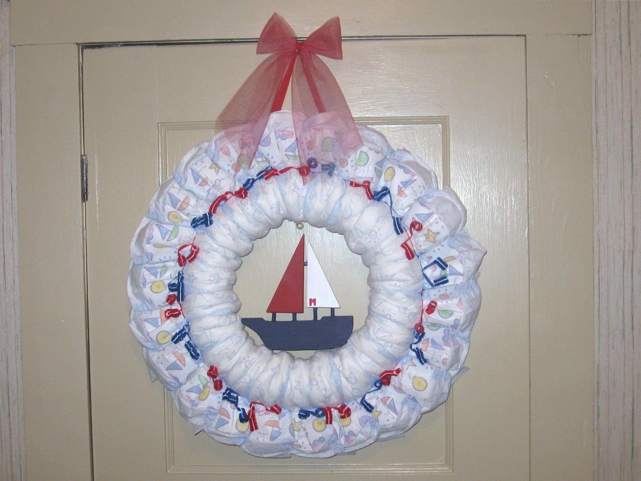 nautical diaper wreath baby shower ideas pinterest