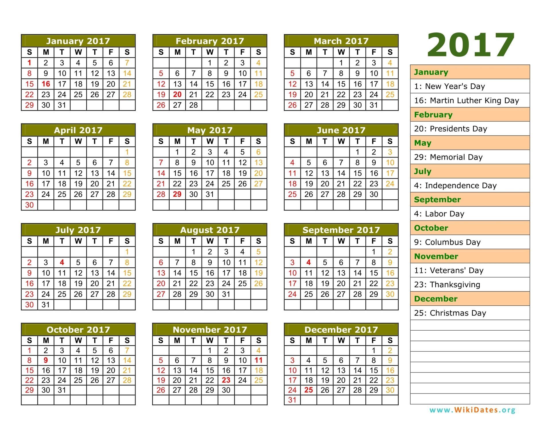 Federal Holiday Calendar 2017 - Academic Calendar