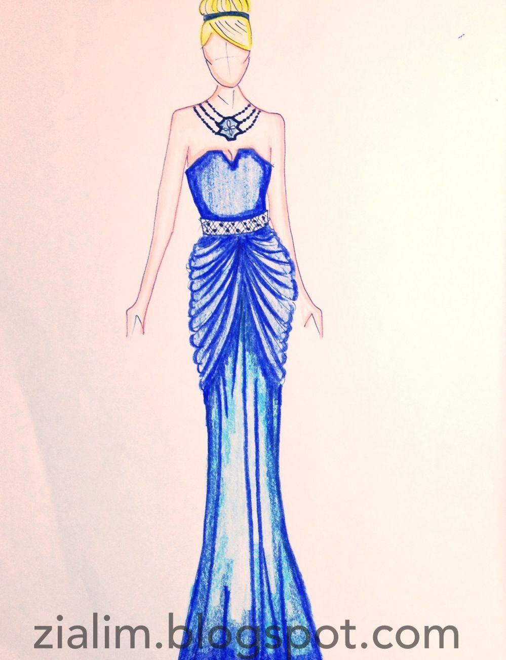Fashion sketches colored pencils 23