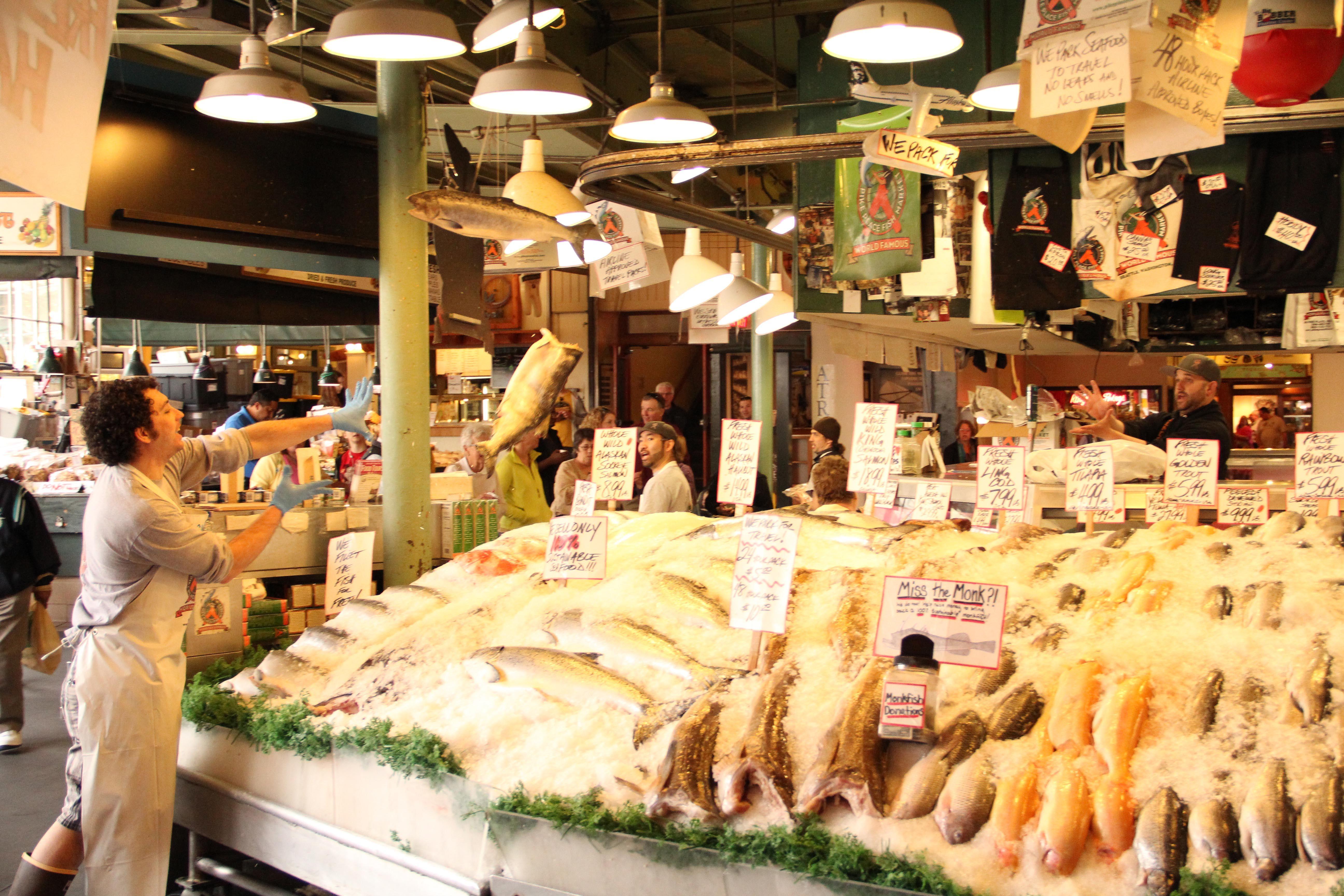 Seattle fish market traveling memories pinterest for Fish market seattle washington