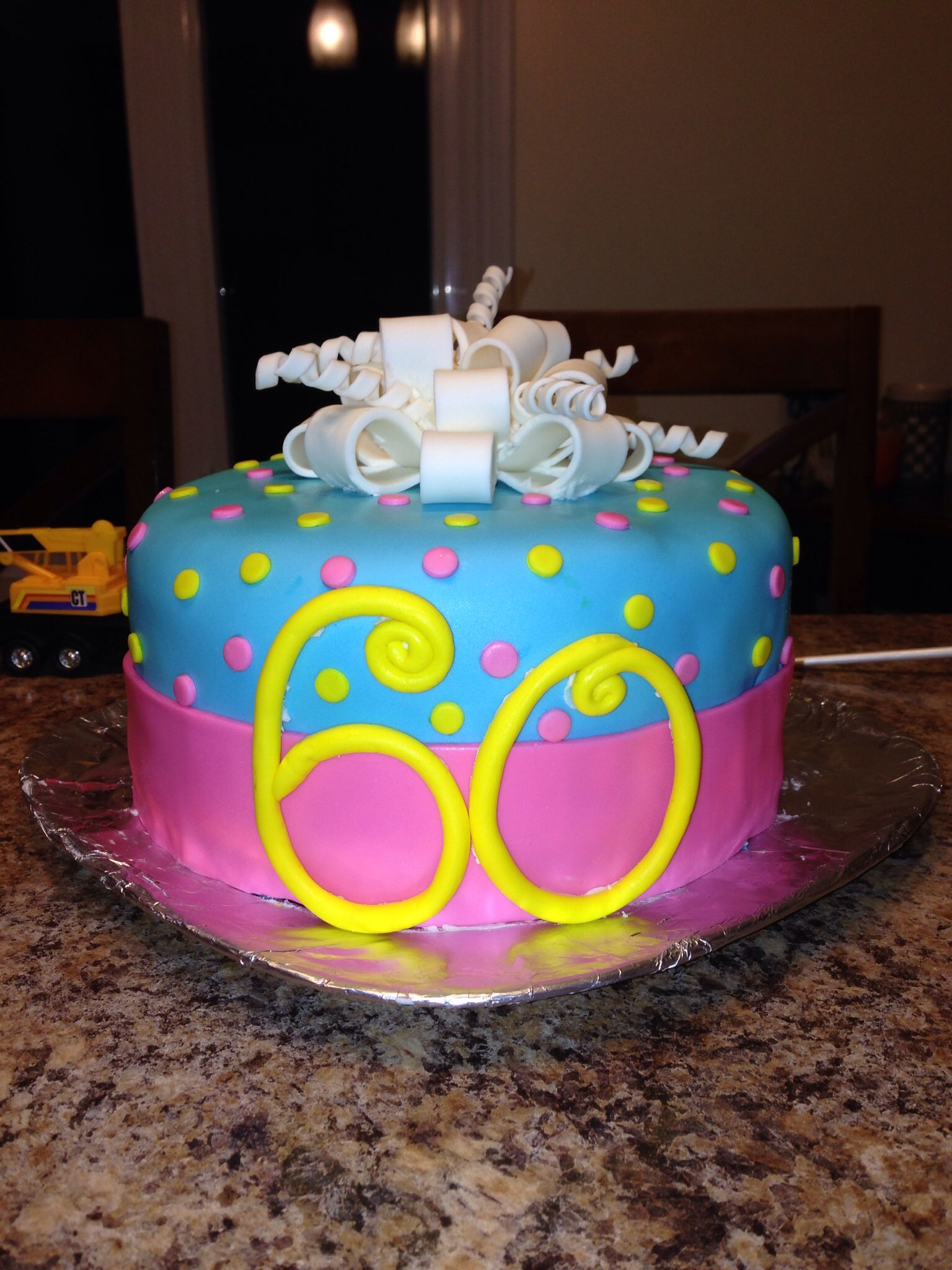 60th Birthday Cake Decorating Ideas 9763 Fondant Cake 60th