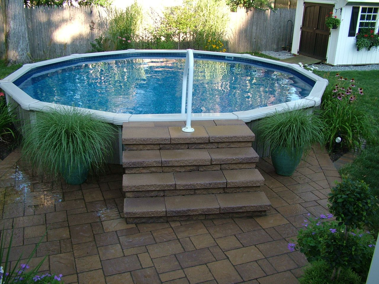 Pin by karessa haley on back yard oasis pinterest - Above ground pool steps for decks ...