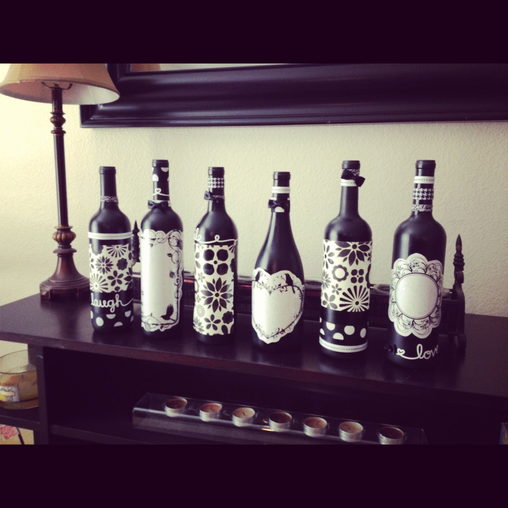 Recycled wine bottle art!! | For the Home | Pinterest