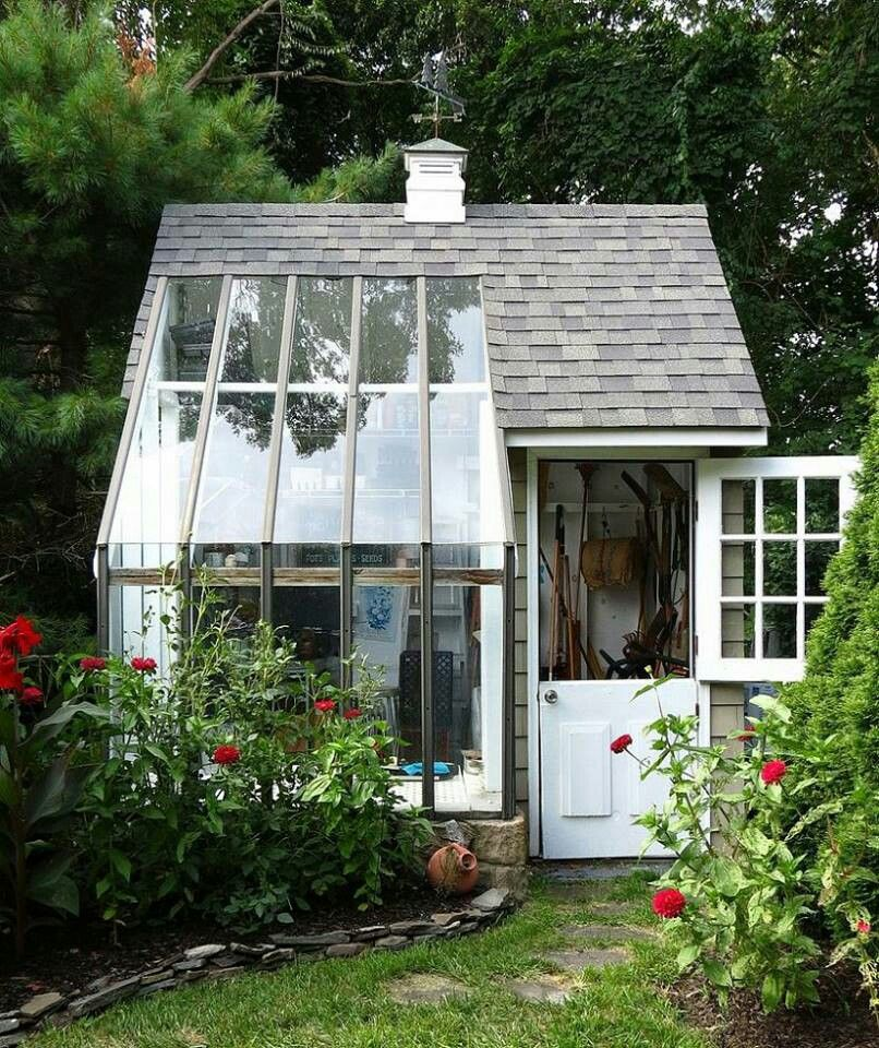 Greenhouse shed combo gardening pinterest Green house sheds