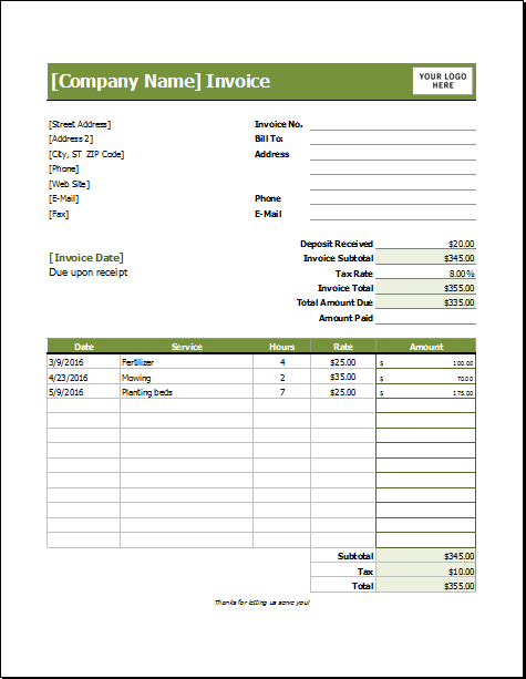 invoice template for lawn services  Pin by Alizbath Adam on Microsoft Excel Invoices | Pinterest ...