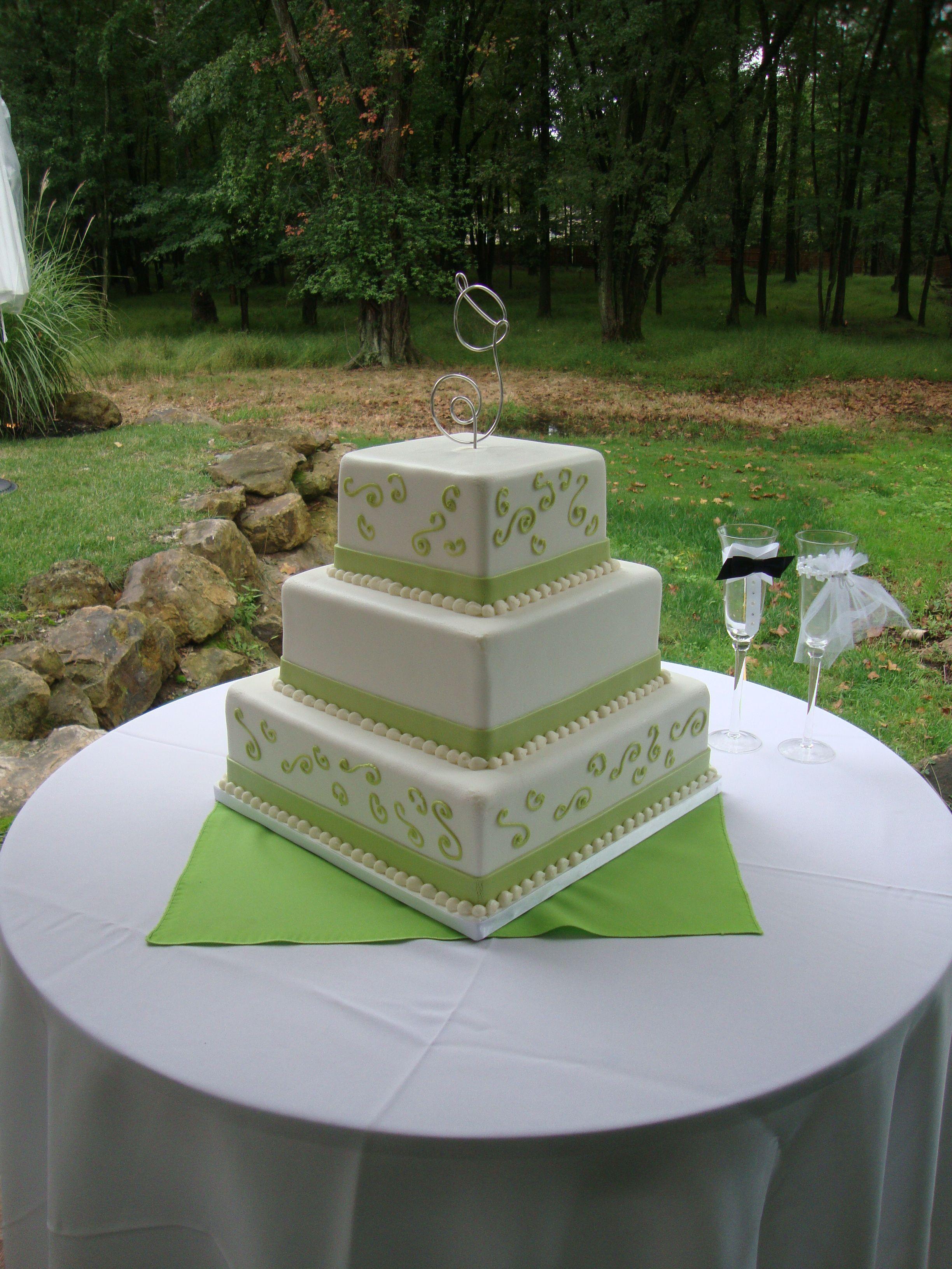 """Square 3 tier """"Avocado"""" wedding cake"""