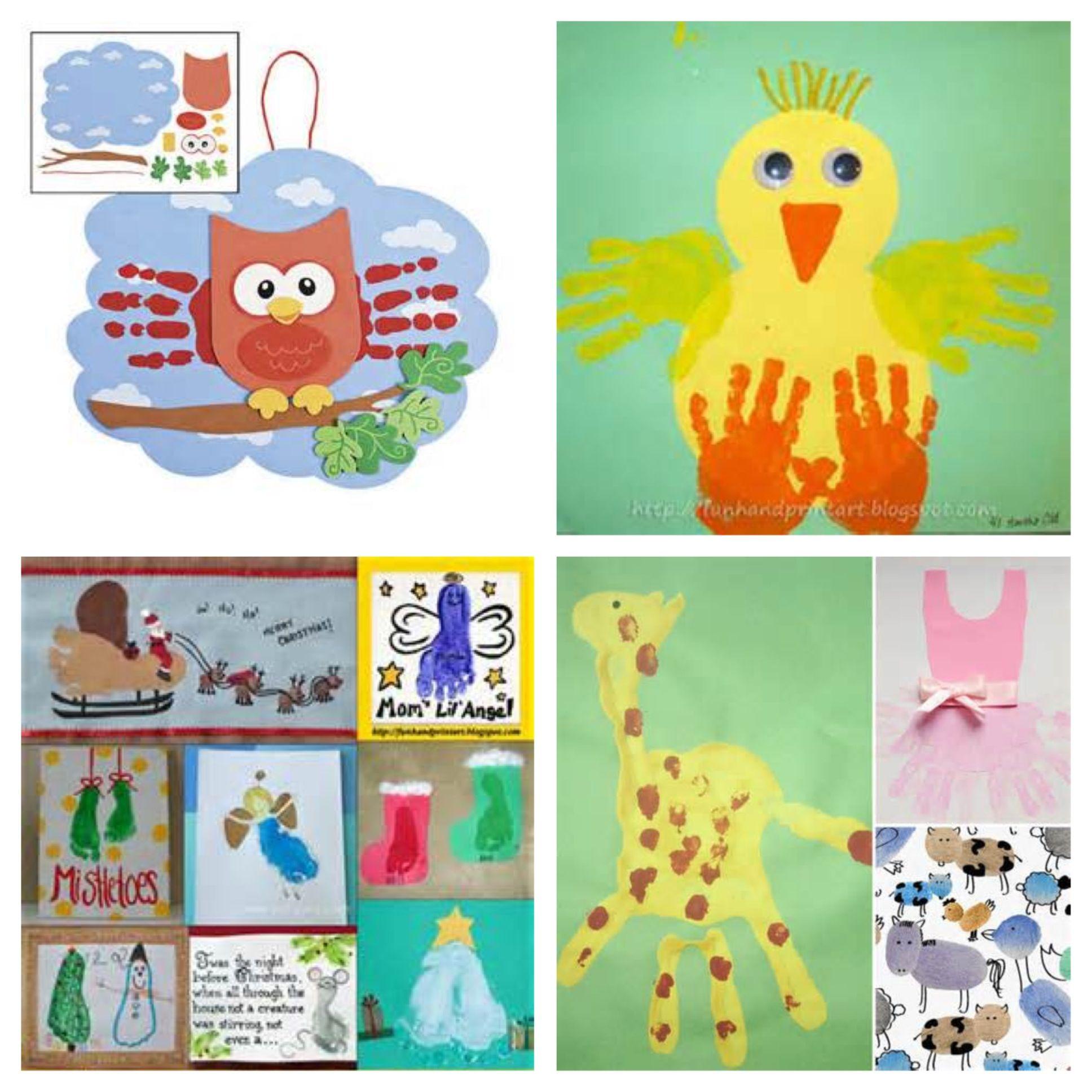 Baby kids handprint footprint art preschool ideas pinterest