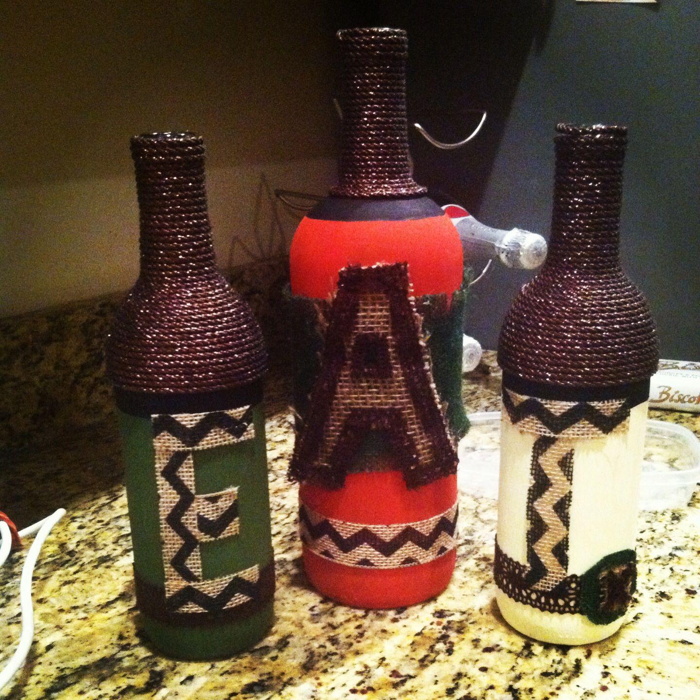 wine bottle decor diy wine bottles pinterest. Black Bedroom Furniture Sets. Home Design Ideas