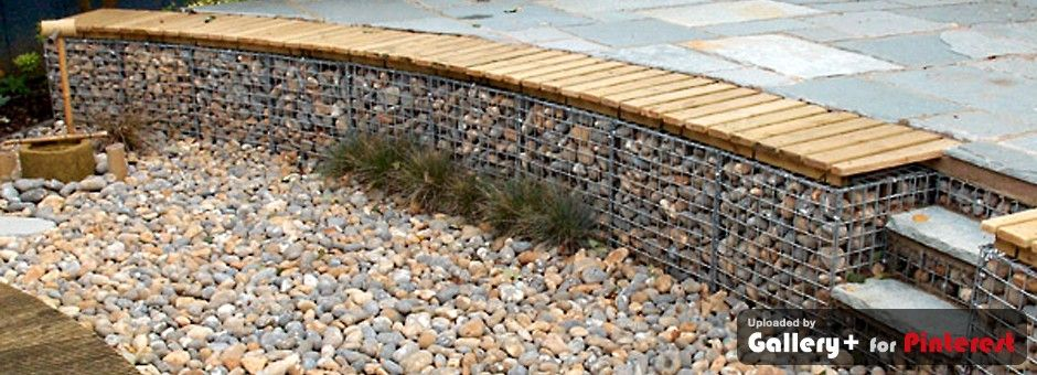 gabion retaining wall bench Blumiges Pinterest