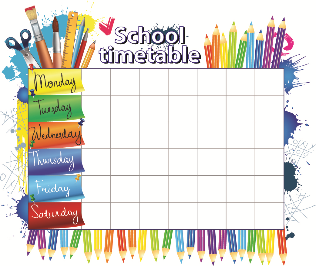 Kids Schedule Template. timetable template for school printable ...