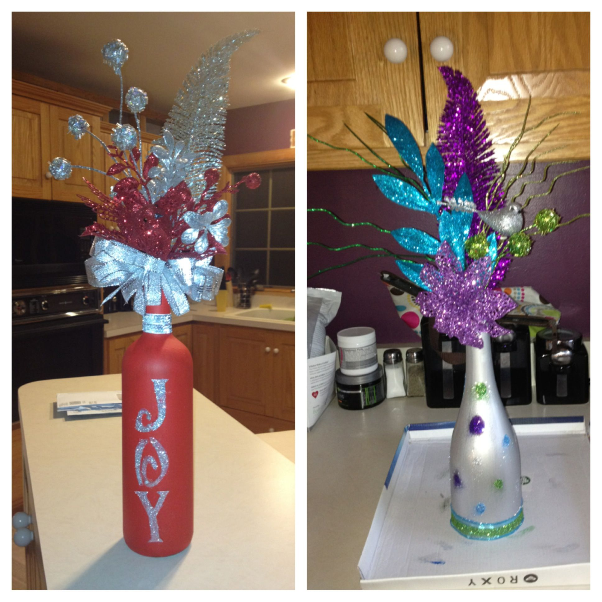 Painted wine bottles and flowers craft ideas pinterest - Craft ideas with wine bottles ...
