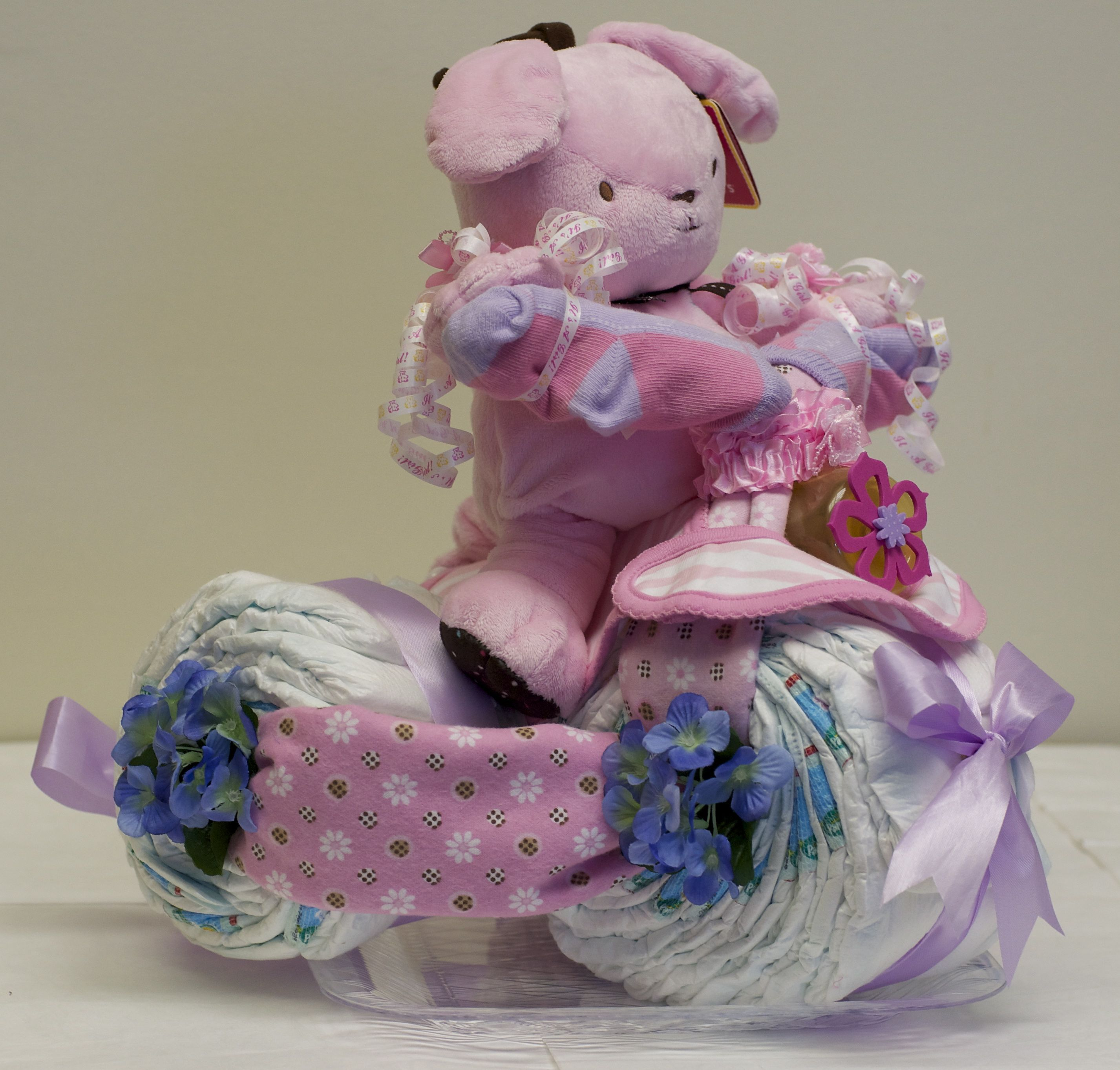 Diaper cake tricycle diaper baby pinterest
