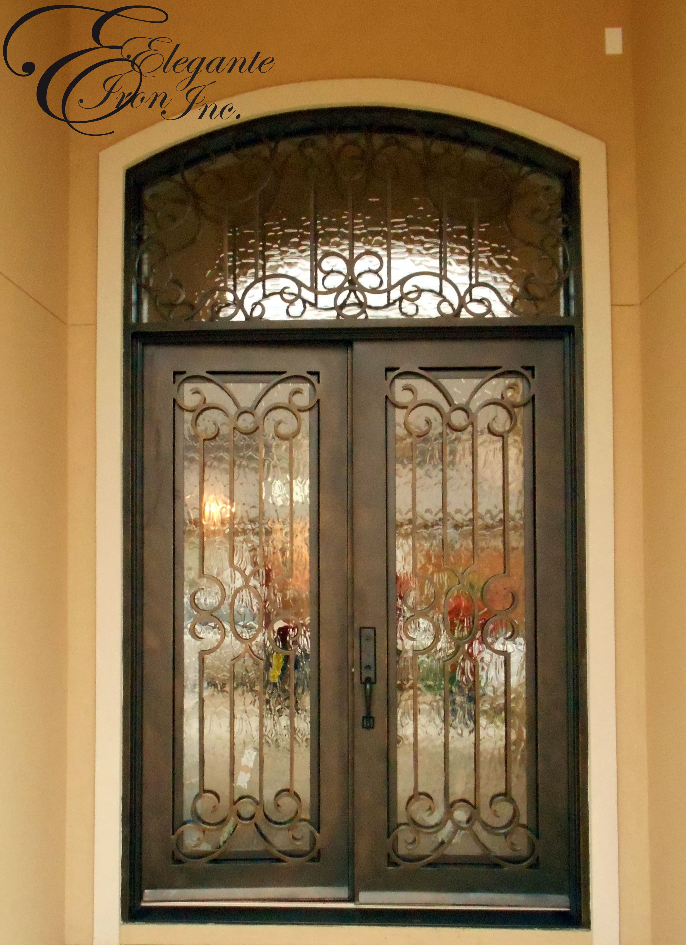 Custom iron front door with transom double doors for Custom transom