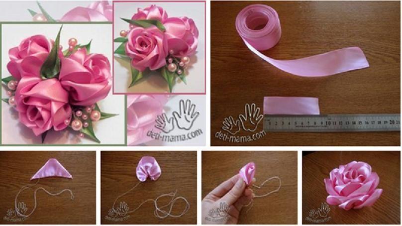 Как сделать розу с лентой