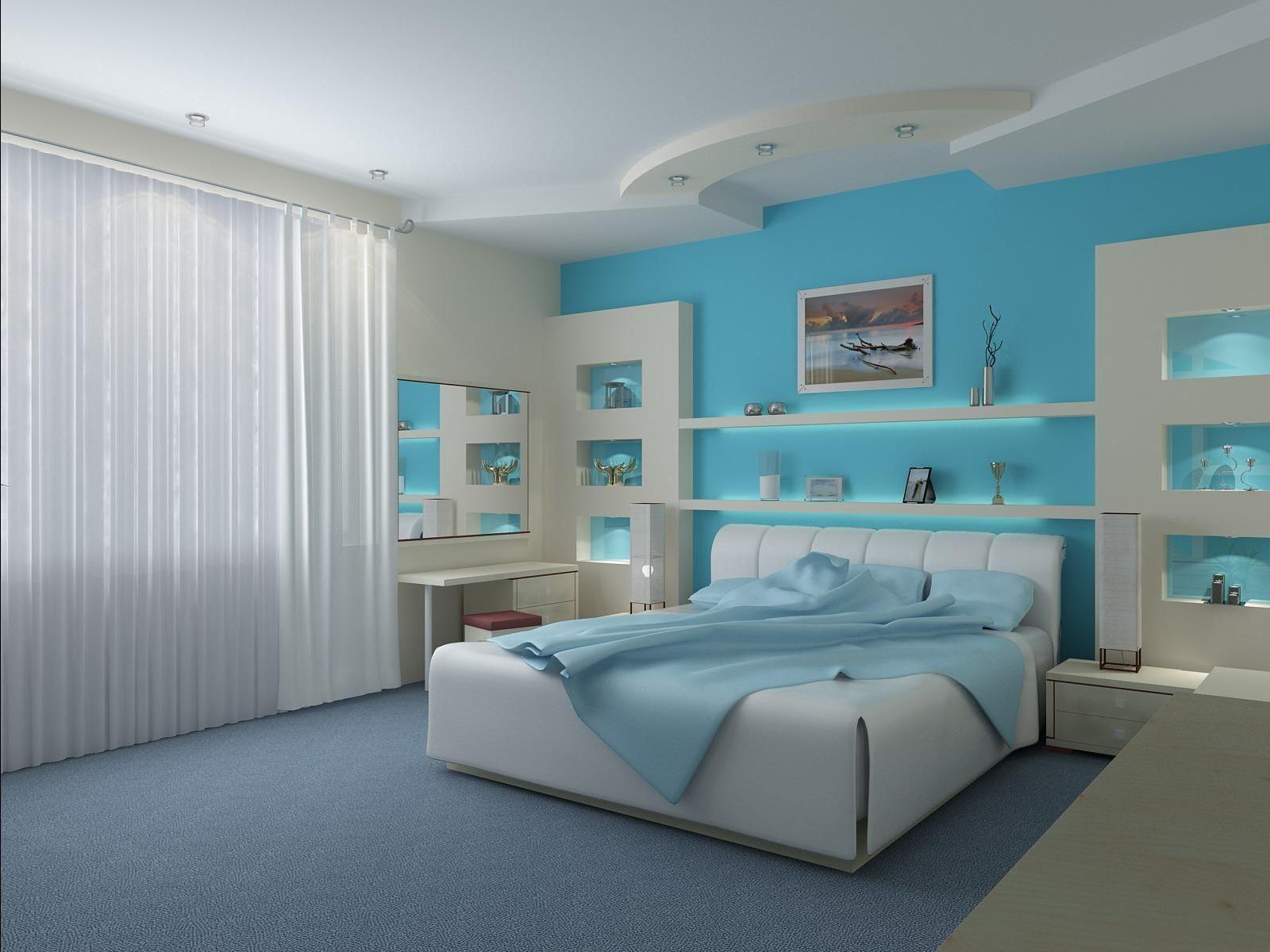 Дизайн комнаты голубого цвета
