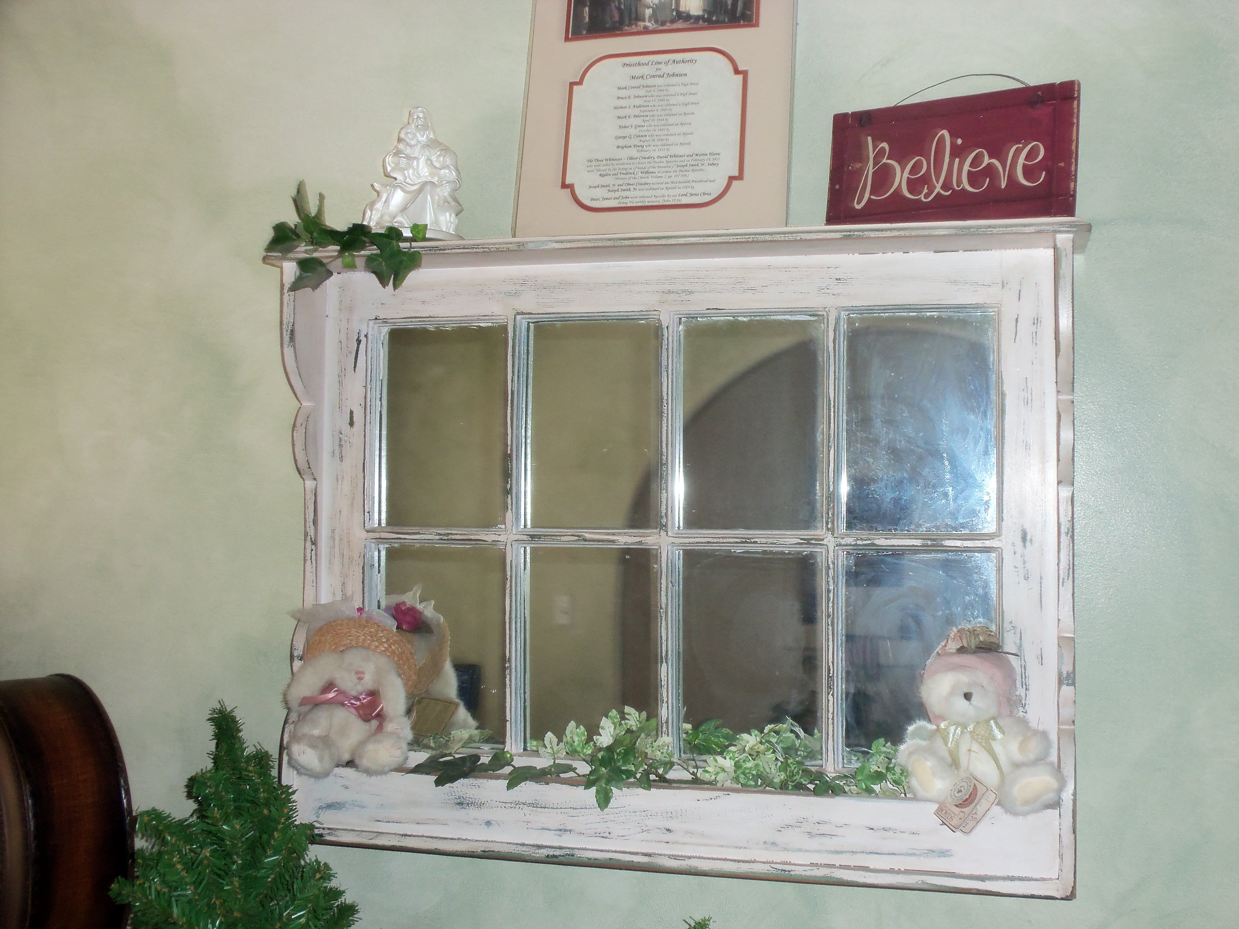 Old Window Frame Into Mirror Craft Ideas Pinterest