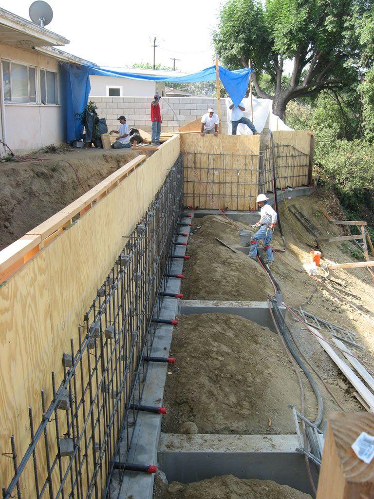 Concrete Retaining Wall Rebar Install Garden Pinterest