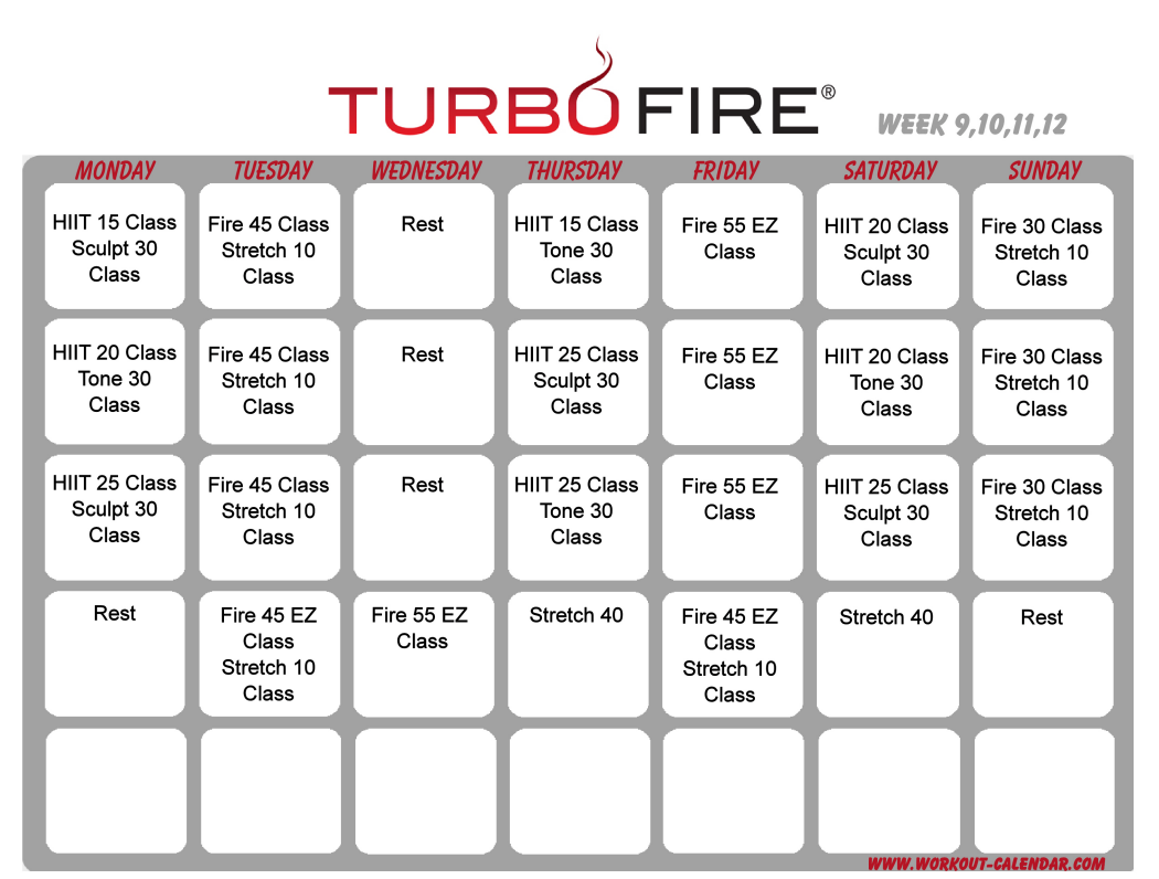 Turbo Fire schedule weeks 9-12 | Bringing sexy back! | Pinterest