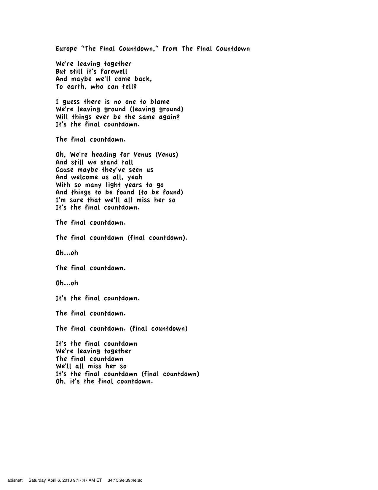 Europe - The Final Countdown Lyrics | MetroLyrics
