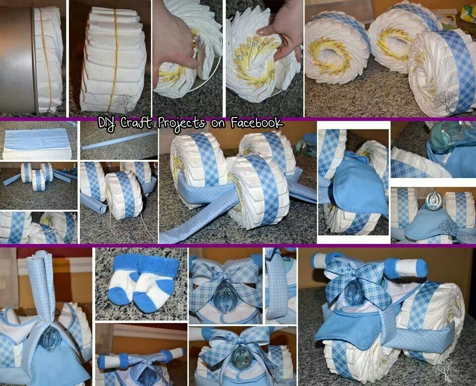 Tricycle diaper cake baby shower pinterest for How to create a baby boy