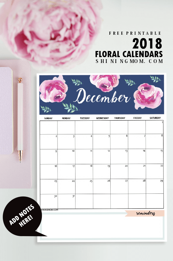 Calendar 2018 Printable: 12 Free Monthly Designs to Love ...