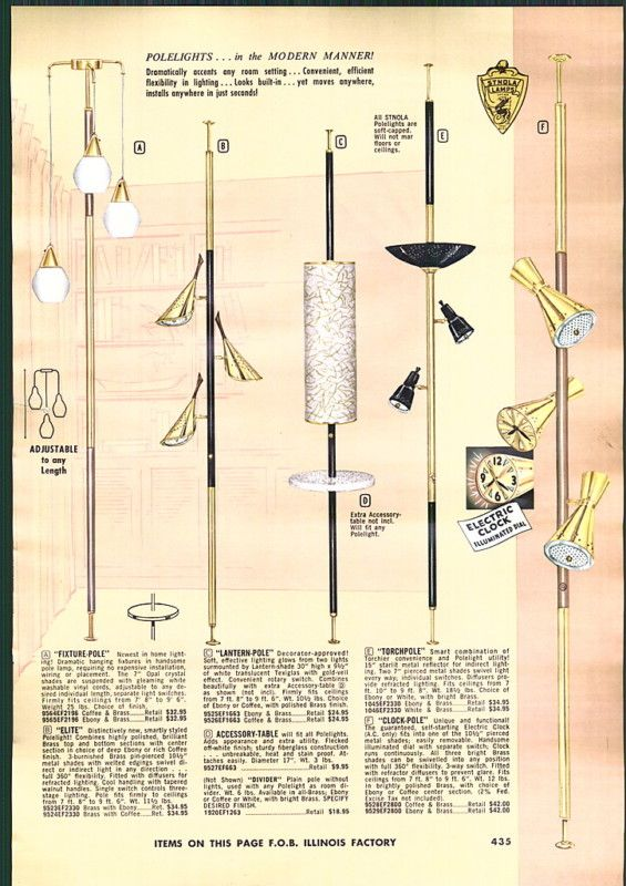 1950s tension pole lamp ad Just Peachy, Darling