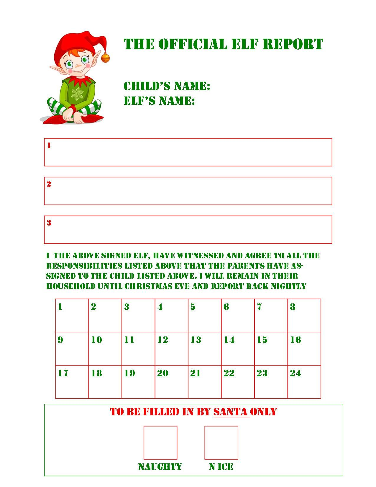Elf Report Card   Printables   Pinterest