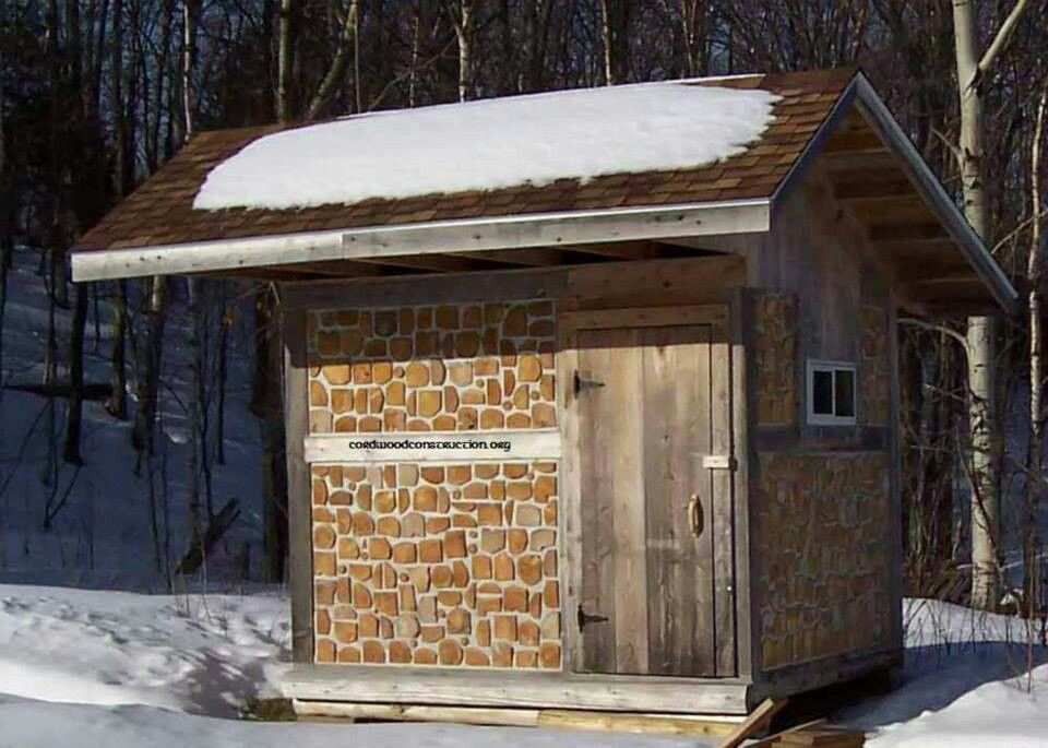 Small shed cordwood pinterest for Cordwood shed