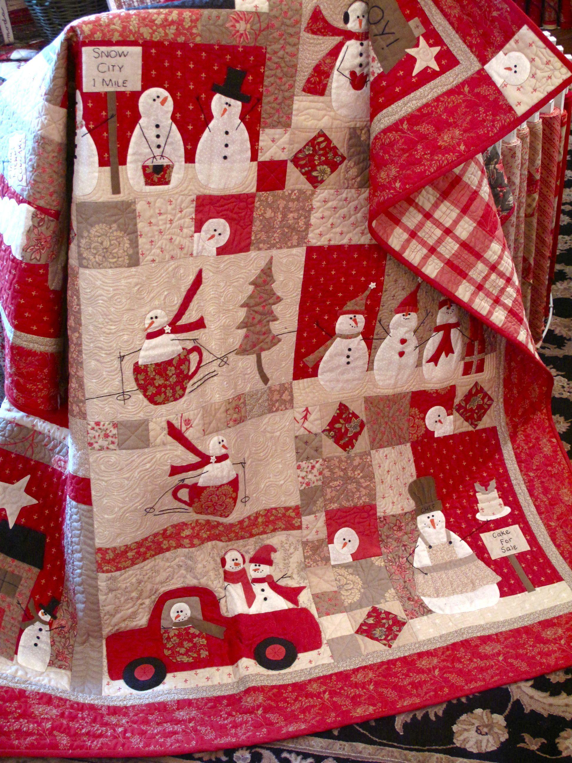Snowmen quilt Quilts and Pillows Pinterest